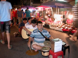 Blind buskers at the night market, Chiang Mai