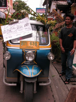 The 'Let's Go Crazy' tuktuk, decked out and ready for action!