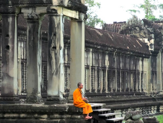 Monk photographer, Angkor Wat, Cambodia.