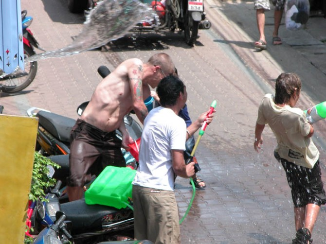 Songkran in action.