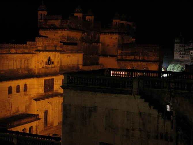 A palace at night - Madhya Pradesh, India.