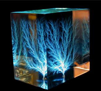 Lightning captured in acrylic.