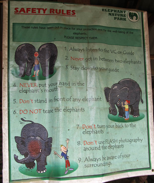 One of the safety posters around Elephant Nature Park.