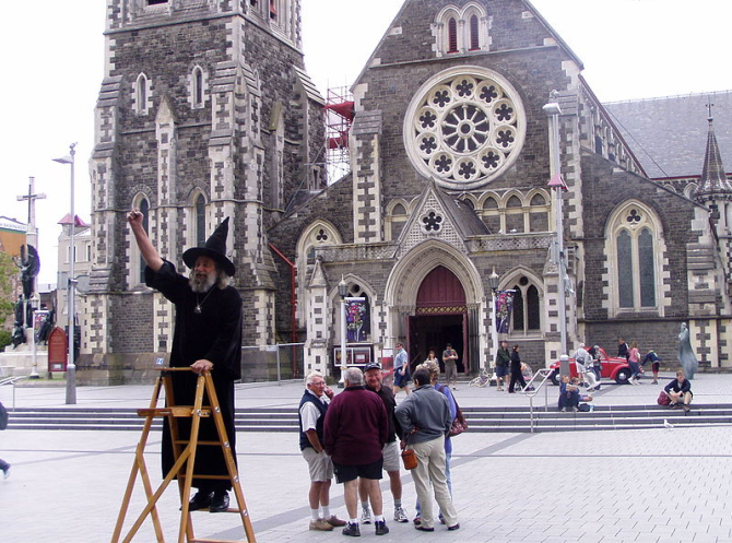 Wizard of New Zealand outside the Christchurch Cathedral, New Zealand. Unfortunately, this cathedral was destroyed in a series of large earthquakes in 2011. Photo thanks to Helmut Pfau.