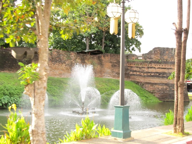 Part of the Old Chiang Mai wall by the canal.