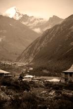 Kinnaur Kailash. Over that peak - Tibet. Chitkul, Himalayas.