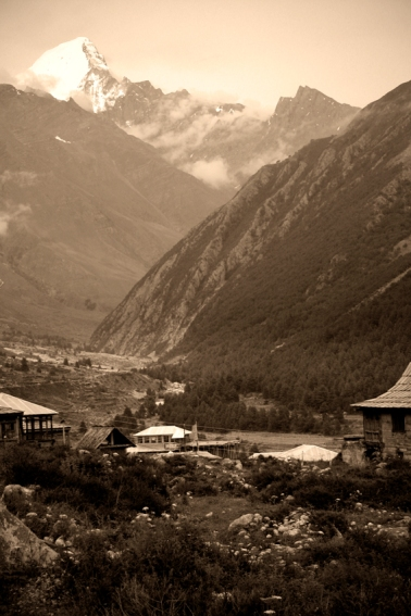 Kinnaur Kailash. Over that peak - Tibet. Chitkul, Himalayas.