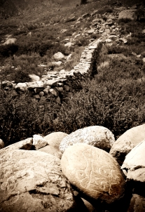 Pile of Mani stones. Chitkul, Himalayas.