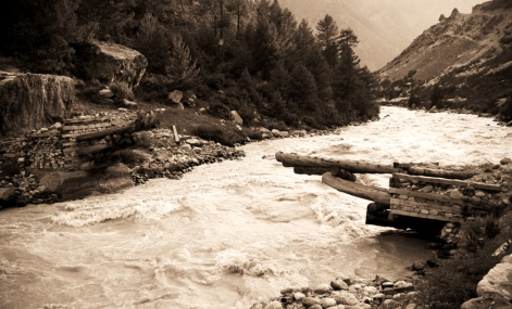The bridge that is no longer. Chitkul, Himalayas.