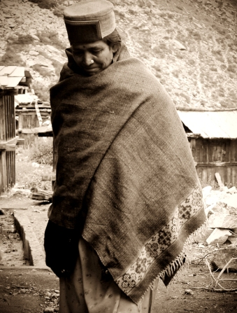 Chitkul woman in her locally woven blanket.