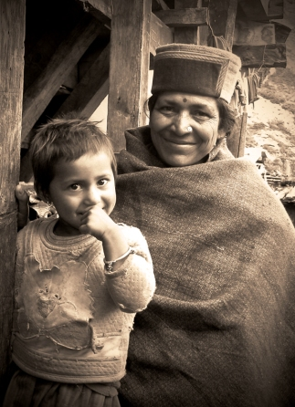 Chitkul woman and child. Chitkul, Himalayas.