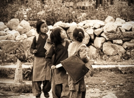 Local schoolgirls on the way home from school. Chitkul, Himalayas.