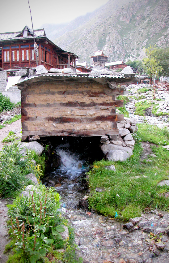 A millhouse straddles one of the streams in Chitkul.