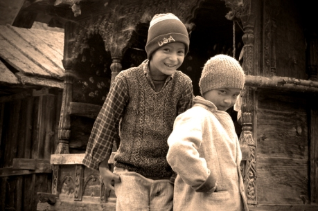 Local boys practice their Bollywood poses. Chitkul, Himalayas.
