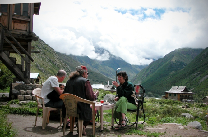 Raj's Guesthouse, Chitkul. The top of the stone steps to the left is at exactly 3,500 meters from sea level.