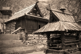 Older part of the temple complex. Chitkul, Himalayas.