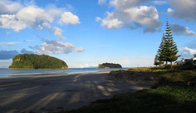 Some of the islands off Whangamata Beach, Coromandel, New Zealand.