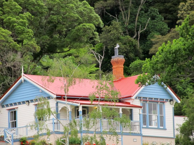 Kiwi 'villa' at the base of Mount Te Aroha, North Island, New Zealand.