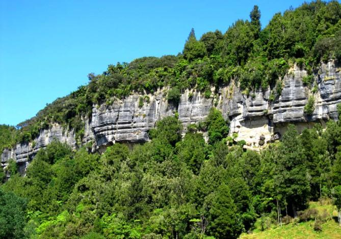 Cliff formations, on the road to Taranaki, North Island, New Zealand.