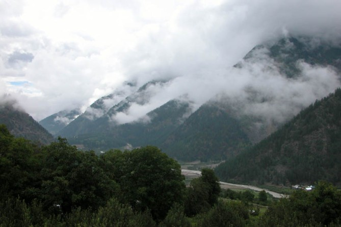 Looking up the wild and beautiful Sangla Valley.